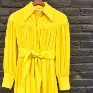1960s Vibrant Yellow Vintage Collared Dress